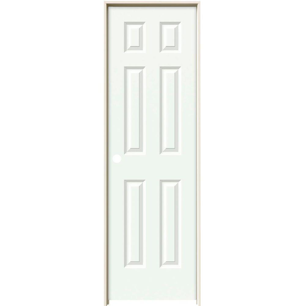 24 in. x 80 in. Colonist White Painted Right-Hand Smooth Solid