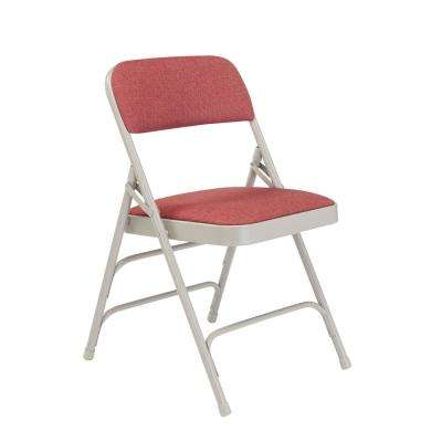 NPS 2300 Series Burgundy Fabric Upholstered Triple Brace Premium Folding Chair (Pack of 4)