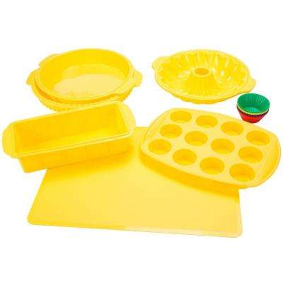 11 in. x 1.5 in. Silicone Bakeware Set in Yellow (18-Piece)