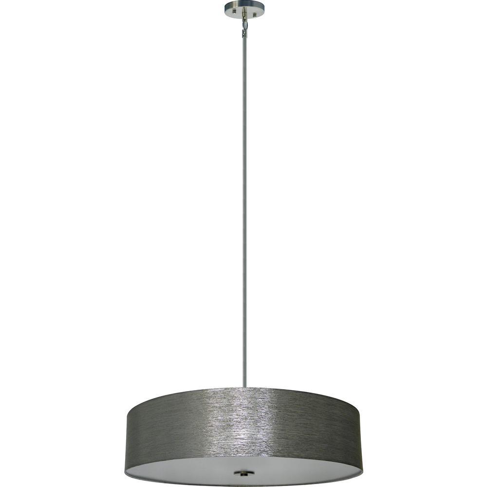 Illumine 5 Light Satin Steel Chandelier With Starlight Weave Fabric Shade