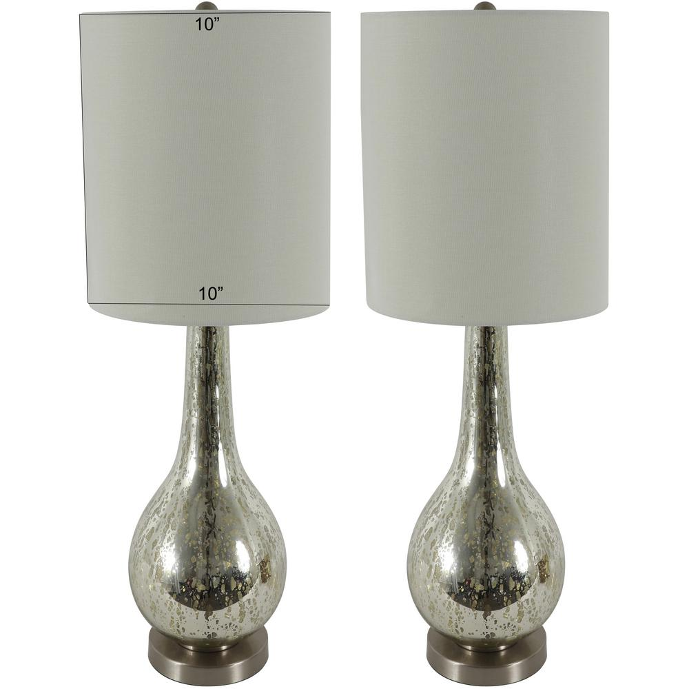 Decor Therapy Pennington 29 in. Clear Mercury Glass Table Lamp with Shade (Set of 2)