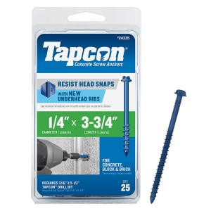 PF4-4 Flat Phillips Concrete Screw for Anchoring to Masonry ITW Red Head 1//4 x 4 Tapcon 500 per Case Block or Brick