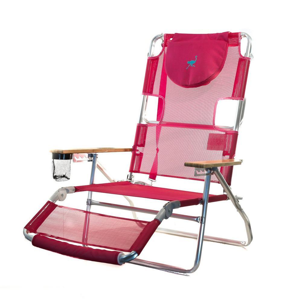 3 in 1 Lightweight Pink Aluminum Frame 5 Position Reclining Beach Chair