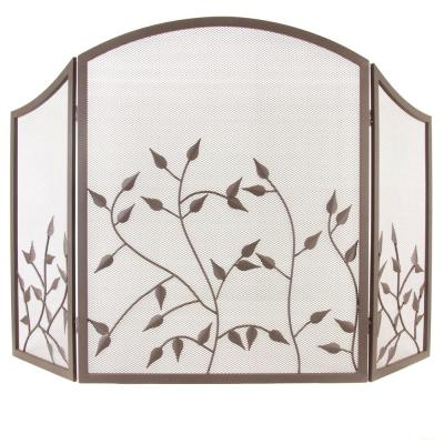 Waverly 3-Panel Fireplace Screen in Colonial Brown