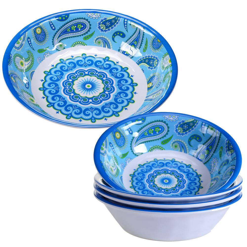 Boho 5-Piece Blue Salad and Serving Set