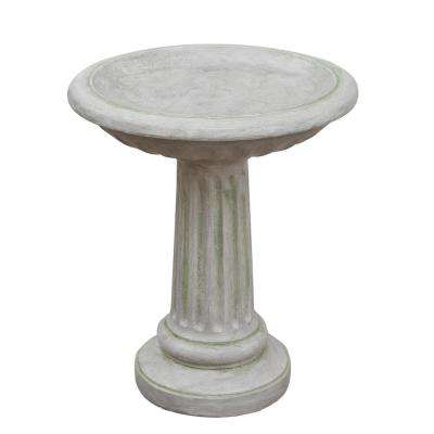 21.5 in. Light Gray Weathered Finish Bird Bath