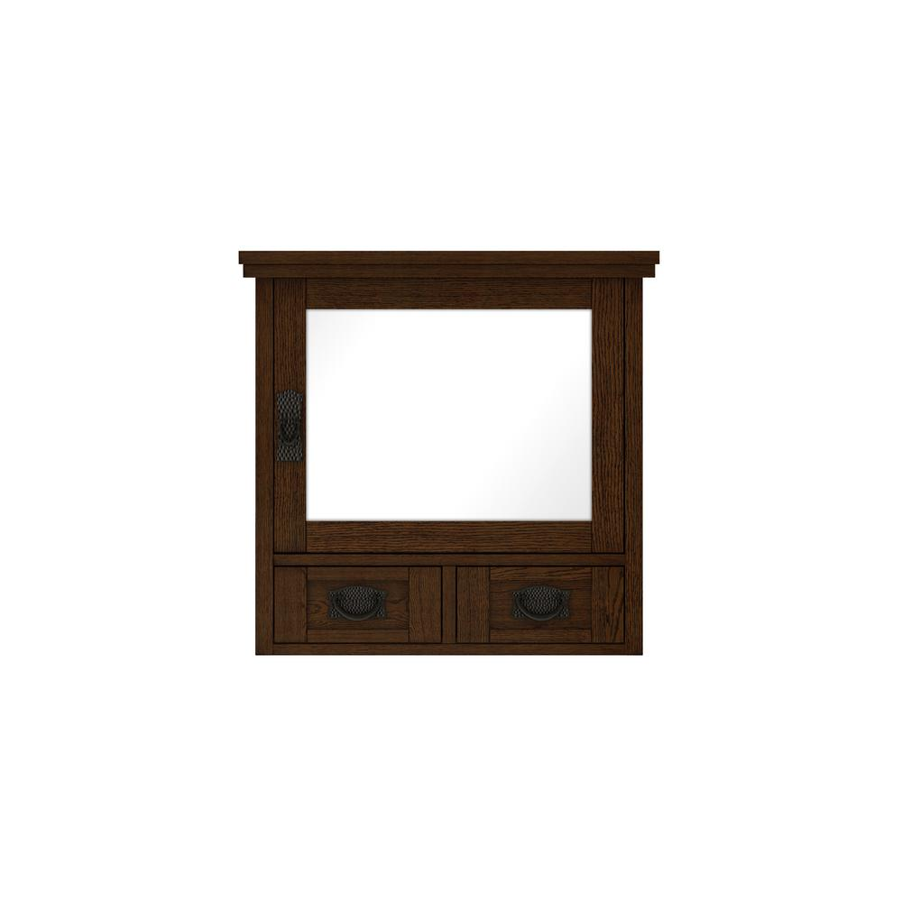 Home Decorators Collection Artisan 23-1/2 in. W x 22-3/4 in. H x 8 in. D Bathroom Storage Wall Cabinet with Mirror in Dark Oak