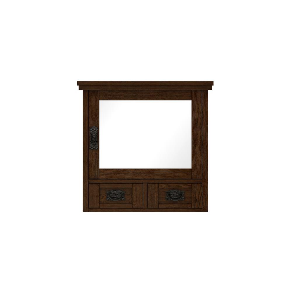 Artisan 23-1/2 in. W x 22-3/4 in. H x 8 in. D Bathroom Storage Wall Cabinet with Mirror in Dark Oak