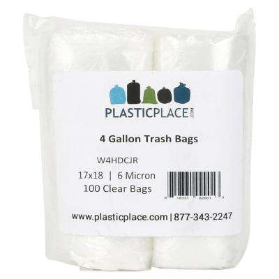 4 Gal. Clear Trash Bags (Pack of 100 Bags)