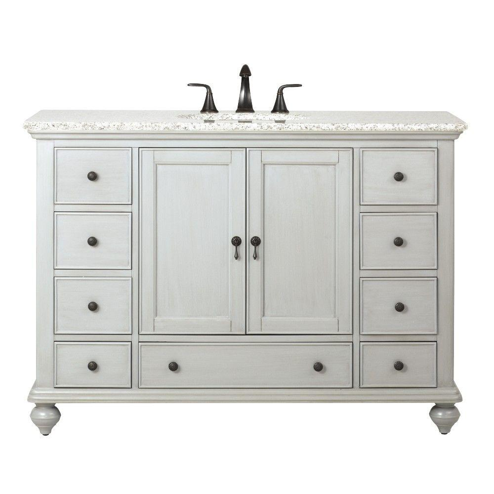 Home decorators collection newport 49 in w x 21 1 2 in d bath vanity in pewter with granite - Home decor bathroom vanities ...