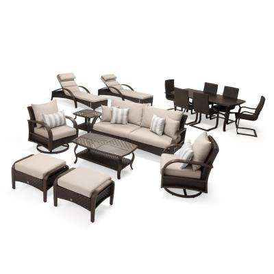 Barcelo Estate 16-Piece Wicker Patio Conversation Set with Slate Grey Cushions