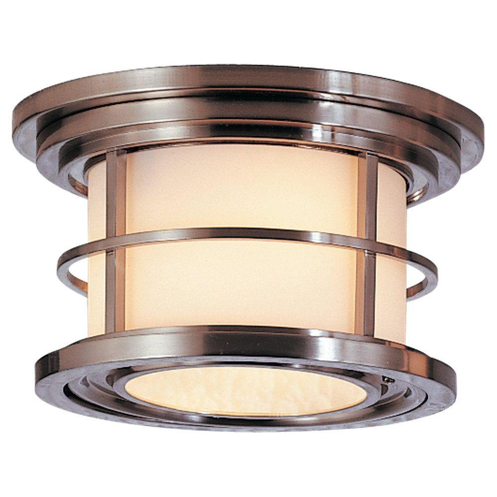 Feiss lighthouse 2 light brushed steel outdoor ceiling fixture ol2213bs the home depot for Exterior ceiling light fixture
