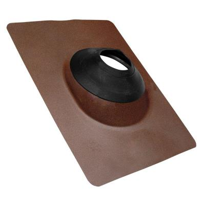 No-Calk 12 in. x 15-1/2 in. Galvanized Steel Brown Vent Pipe Roof Flashing with 3 in. - 4 in. Adjustable Diameter