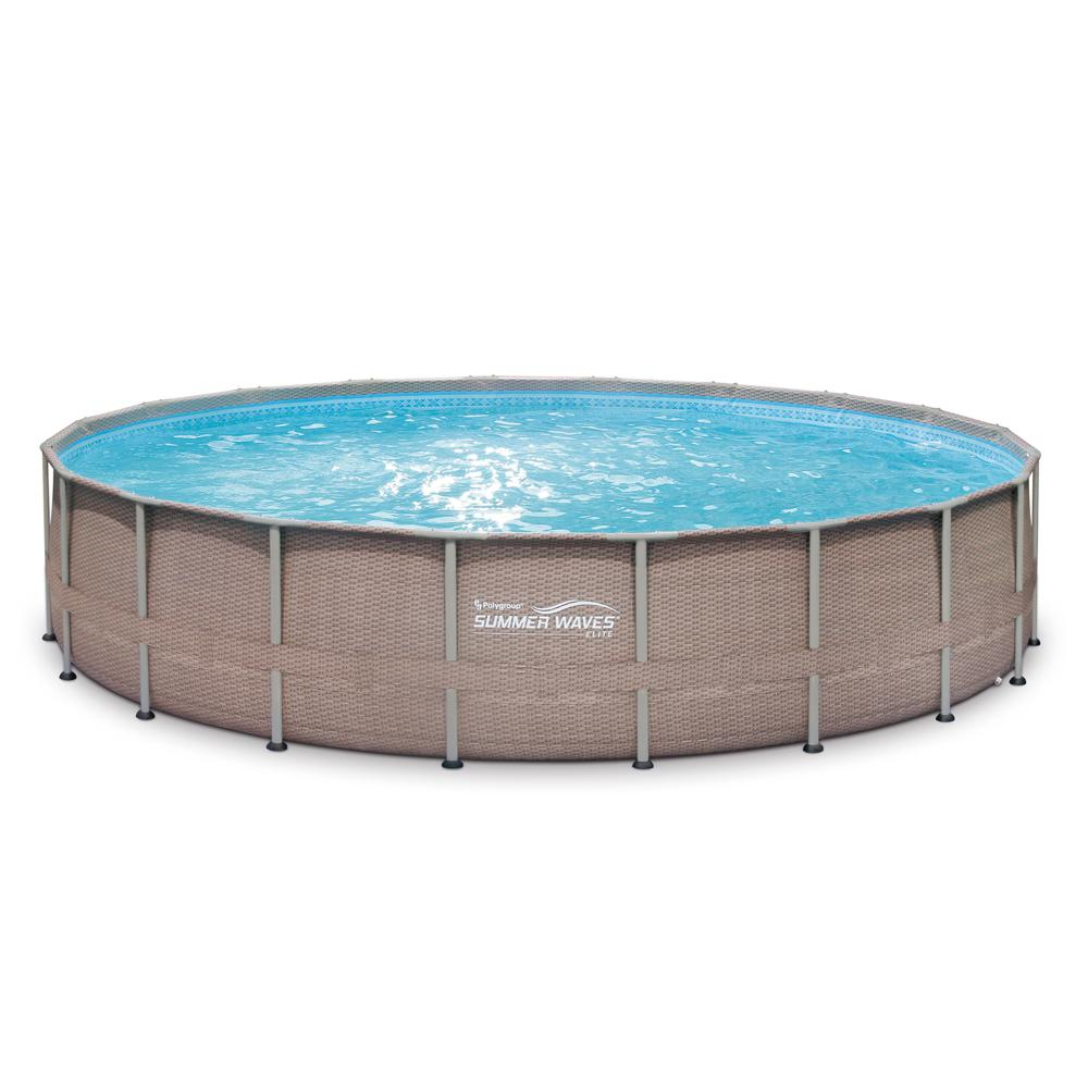 Summer Waves Elite 20 ft. x 48 in. Deep Round Above Ground Pool Elite Metal  Frame Pool with Sand Filter, Cover, SureStep Ladder, Maint. Kit