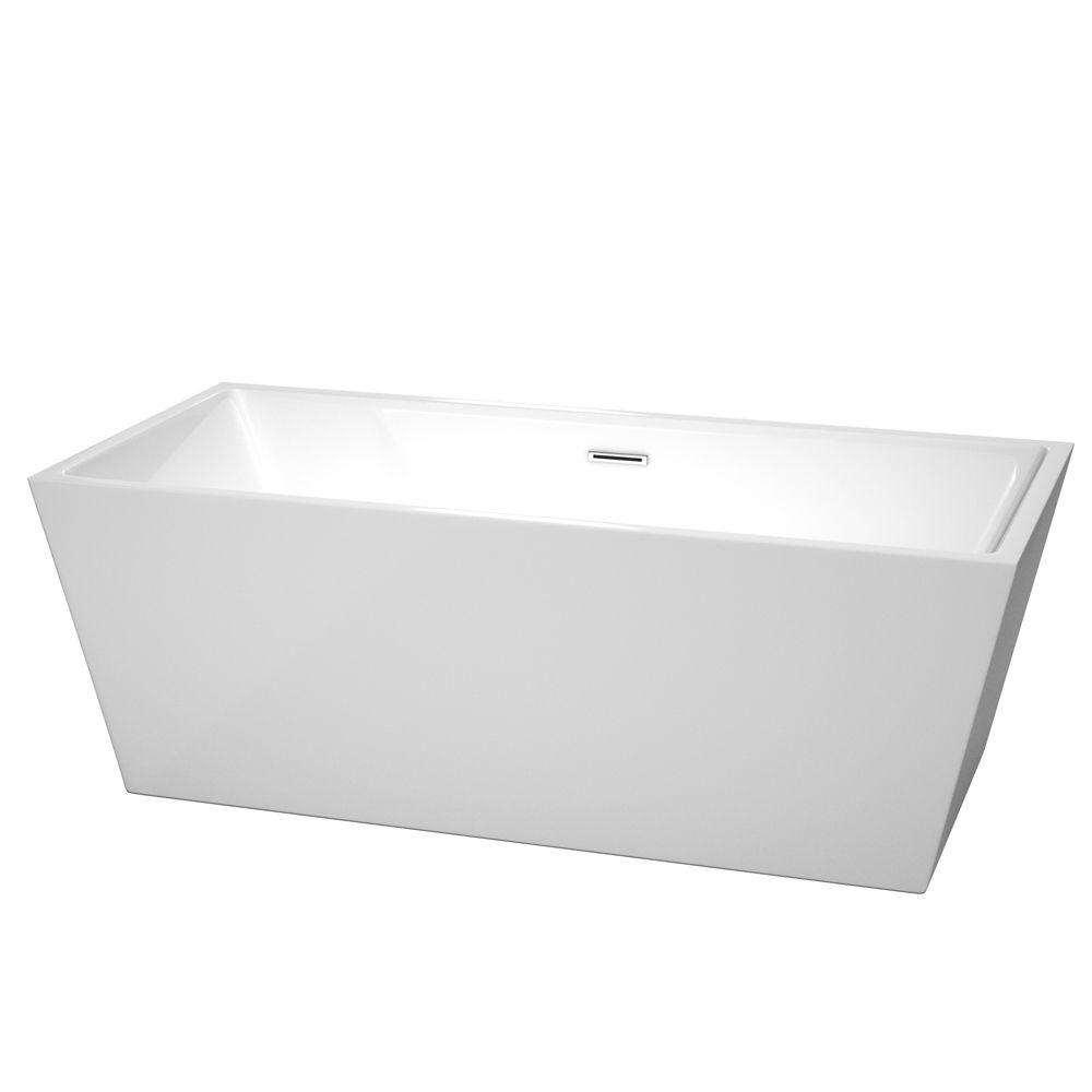 Sara 67 in. Acrylic Flatbottom Center Drain Soaking Tub in White