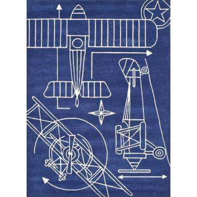 Lil Mo Hipster Aero Navy Blue 4 ft. x 6 ft. Indoor Kids Area Rug