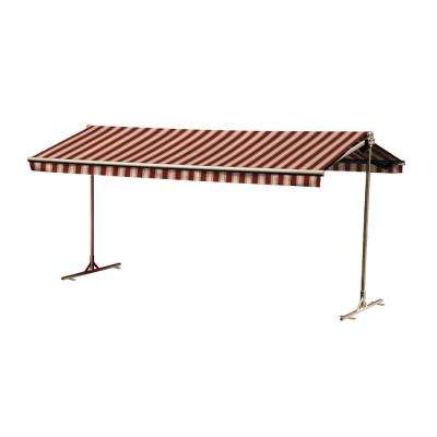 12 ft. Oasis Freestanding Motorized Retractable Awning (120 in. Projection) with Remote in Red Brick