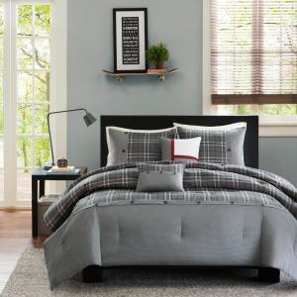 Campbell 5-Piece Grey Full/Queen Plaid Comforter Set