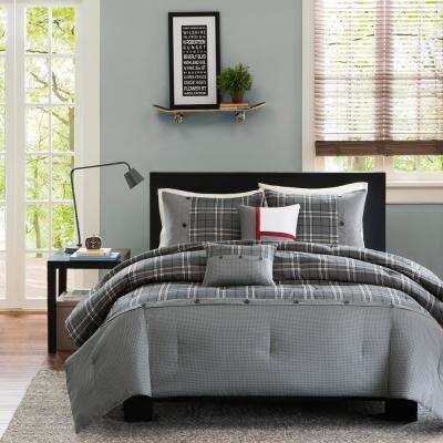 Campbell 5-Piece Grey Full/Queen Plaid Comforter Set