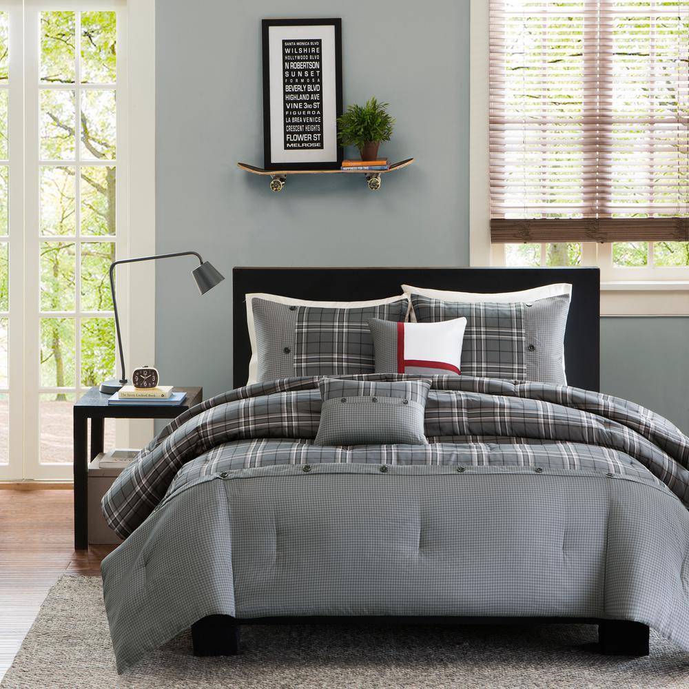 Campbell 5-Piece Grey King/California King Plaid Comforter Set