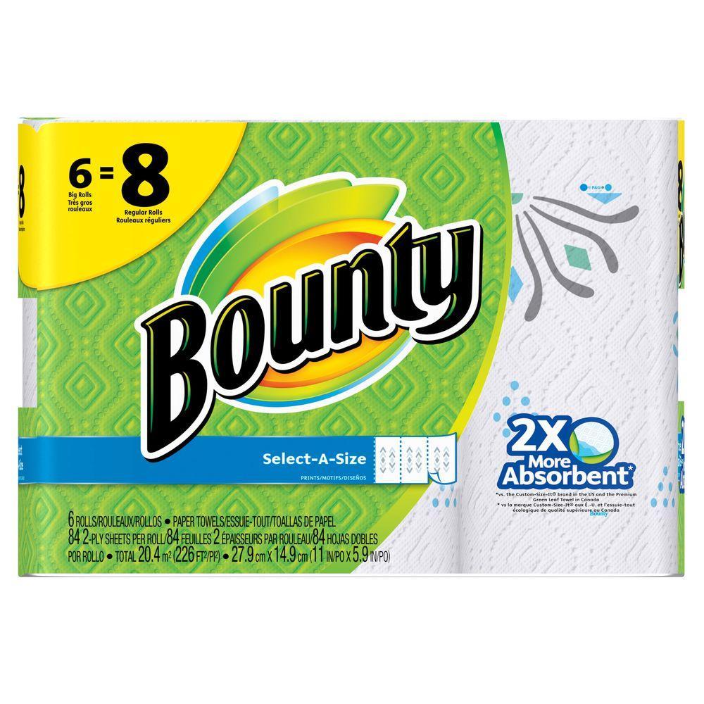 Bounty Select-A-Size White Paper Towels (6 Big Rolls = 8 Regular Rolls)
