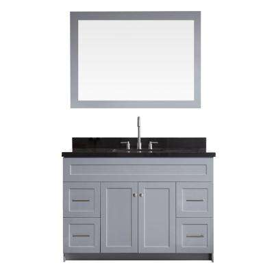 Hamlet 49 in. Bath Vanity in Grey with Granite Vanity Top in Absolute Black with White Basin and Mirror