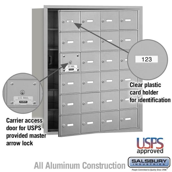 Salsbury Industries Aluminum Usps Access Front Loading 4b Plus Horizontal Mailbox With 24a Doors 23 Usable 3624afu The Home Depot