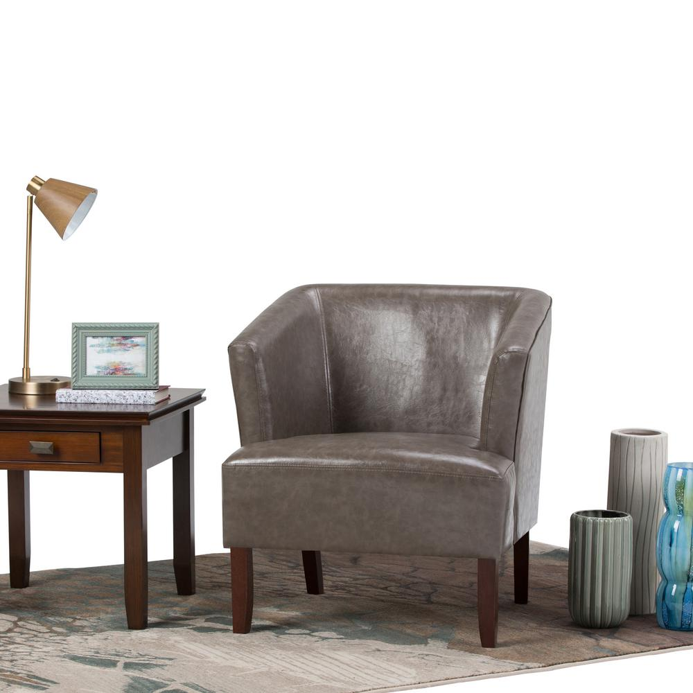 Simply Home Longford Elephant Grey Bonded Leather Arm Chair