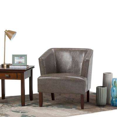 Longford Elephant Grey Bonded Leather Arm Chair