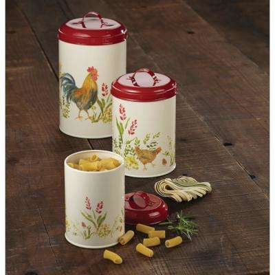 3-Piece Food Storage Canister Set in Garden Rooster