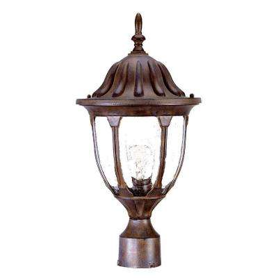 Suffolk 1-Light Burled Walnut Outdoor Post-Mount Fixture