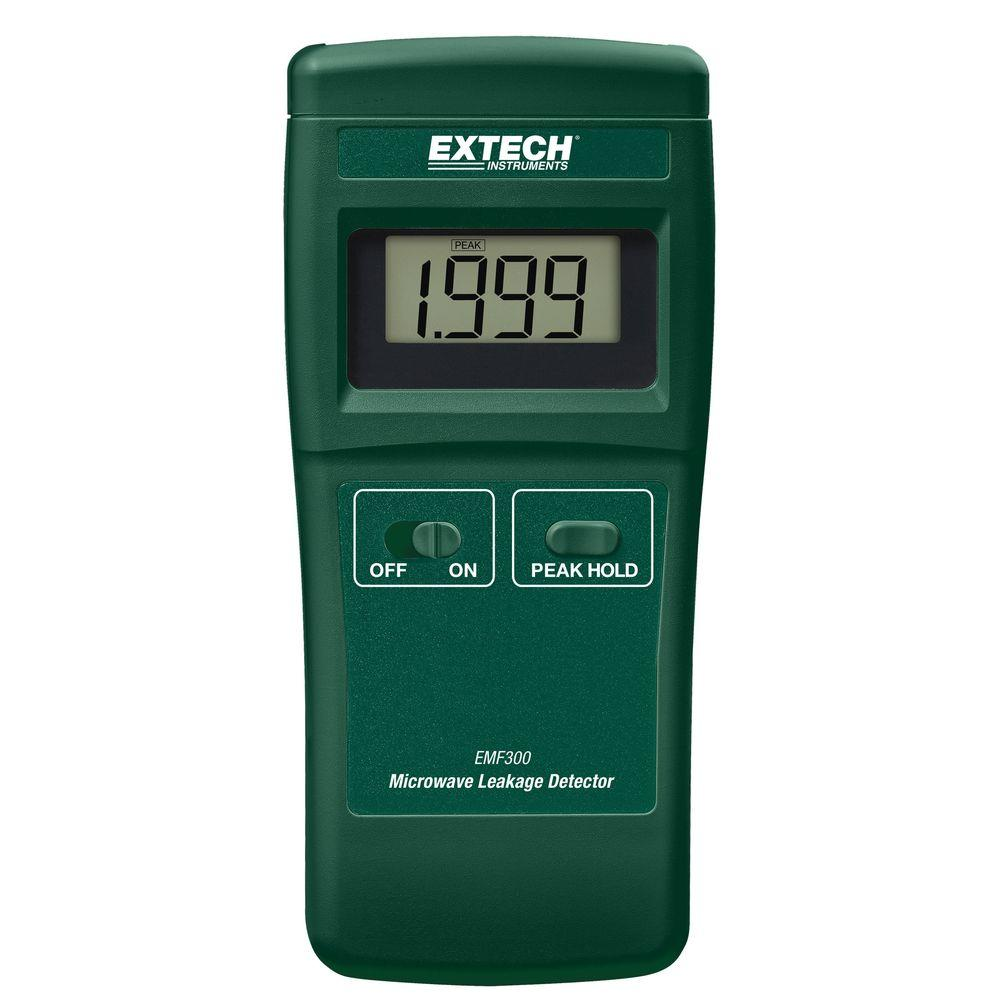 Extech Instruments Microwave Leakage Detector The EMF300 is a compact microwave leakage detector for measuring high frequency radiation levels. It's easy-to-use, compact microwave leakage detector designed to measure high frequency radiation levels emitted from household and commercial microwave ovens. The EMF300 is Complete with 9V battery.