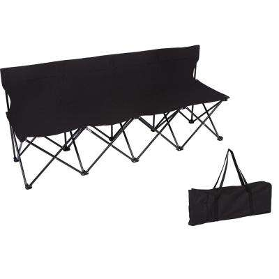 Portable 4-Seater Folding Black Team Sports Sideline Chair