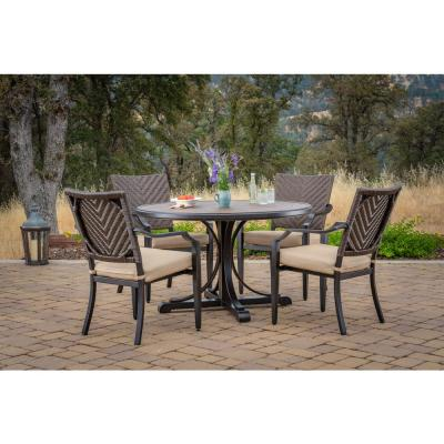 Mulberry 5-Piece Wicker Round Outdoor Dining Set with Sunbrella Method Stone Cushions