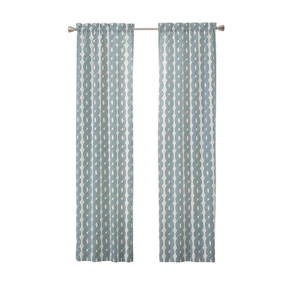Zaya 84 in. L Polyester Rod Pocket Drapery Panel Pair in Peacock