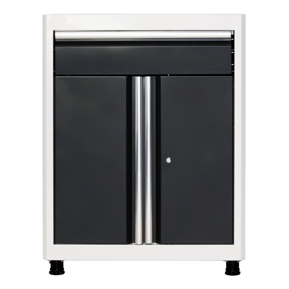 American Heritage 36 in. H x 30 in. W x 18 in. D Steel Base Cabinet with Drawer in White/Charcoal