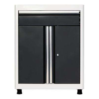36 in. H x 30 in. W x 18 in. D Steel Base Cabinet with Drawer in White/Charcoal