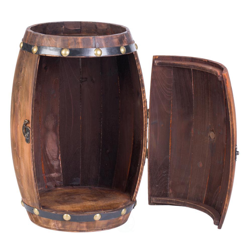 Wooden Barrel Shaped Vintage Decorative Wine Rack Storage