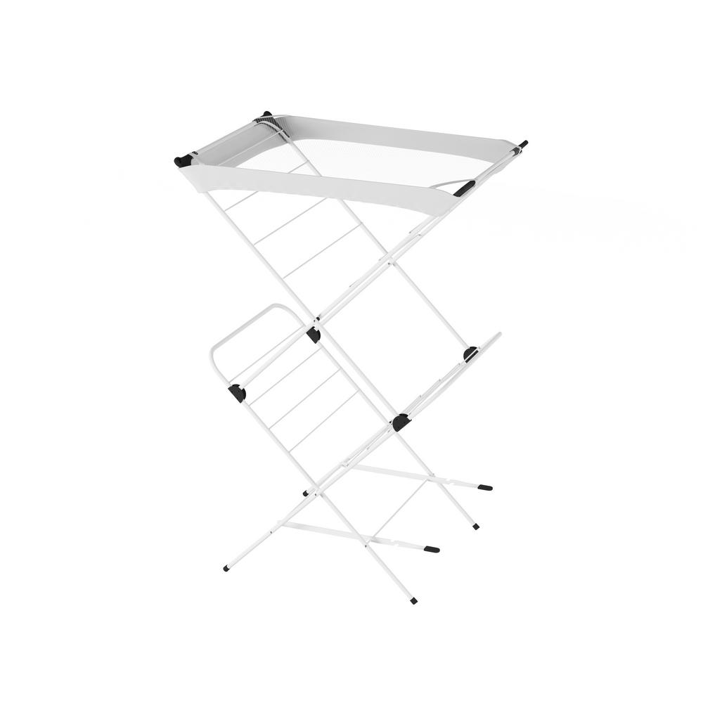 Lavish Home 18.75 in. x 40 in. 2-Tier Laundry Drying Rack with Mesh Top, Black And White Properly care for all your delicate garments with the 2-Tier Laundry Drying Rack with Mesh Top by Lavish Home. The folding accordion style frame of this laundry station is made of sturdy square and round steel tubing to stand up to daily loads of laundry and a powder coat paint to help it resist rust and corrosion from damp clothing. The durable steel construction makes this rack not only great for drying clothing, but also for use as a folding table or hanging up clothing for temporary storage. The entire unit folds flat in seconds for convenient storage when the rack is not in use, making it ideal for small laundry and mudrooms, apartments and dorm rooms. The top of this laundry rack features a breathable, nylon mesh top. This can be used to help dry very delicate clothing or keep folded items in place for temporary storage. Color: Black and White.