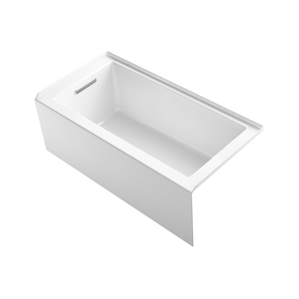 KOHLER Underscore 60 in. Left-Hand Drain Rectangular Alcove Bathtub in White
