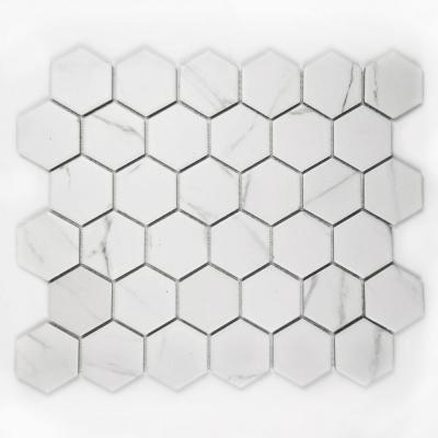 Monet Carrara White Hexagon Mosaic 2 in. x 2 in. Porcelain Wall Tile (26 Sq.Ft./Case)