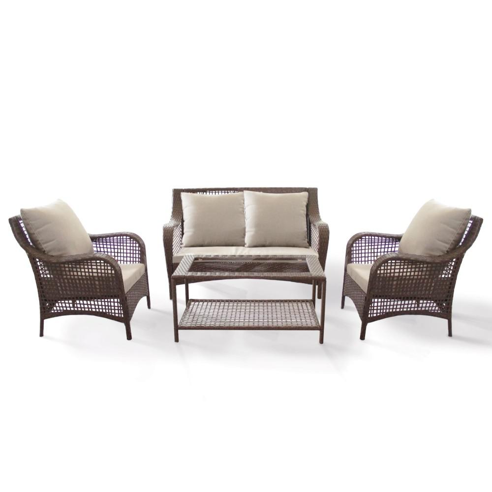 Courtyard Casual Willows Brown 4-Piece Steel Outdoor Loveseat Set with Beige Cushions