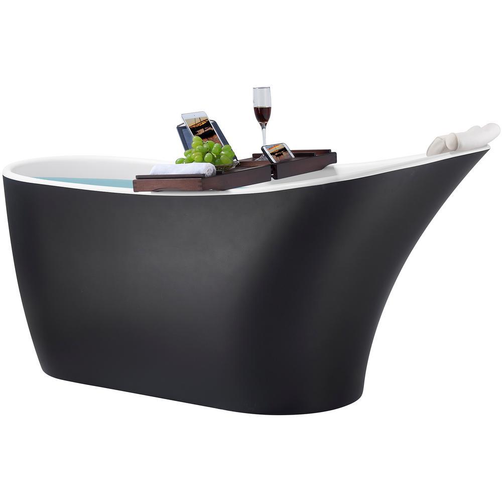 63 in. Fiberglass Single Slipper Flatbottom Non-Whirlpool Bathtub in Matt Black