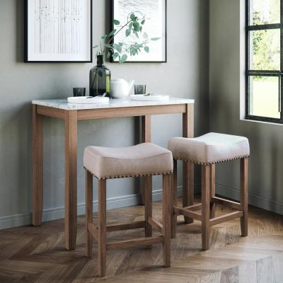 Viktor Three Piece Dining Set Kitchen Pub Table White Marble Table Top, Light Brown Wood Base, Light Beige Fabric Seat