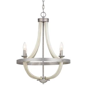 Keowee 4-Light Galvanized Chandelier with Antique White Wood Accents