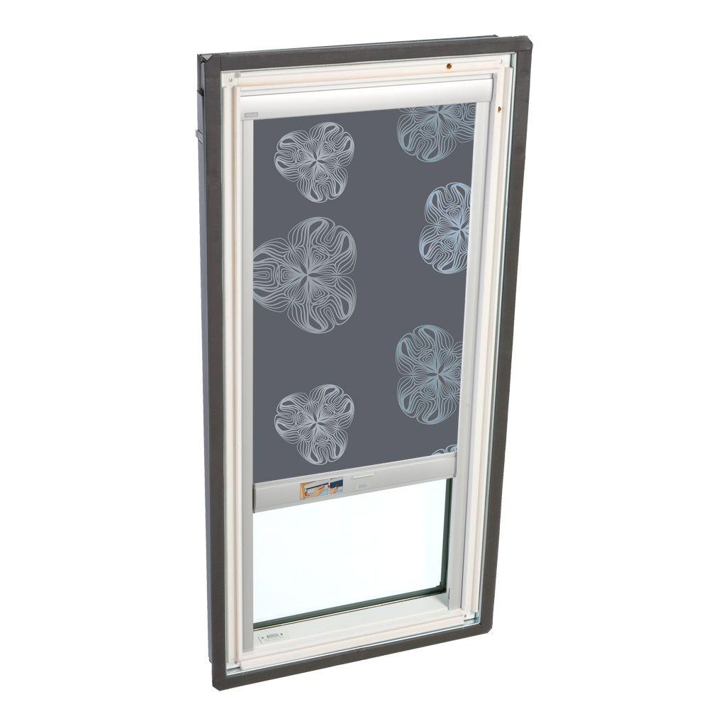 VELUX 21 in. x 26-7/8 in. Fixed Deck-Mounted Skylight w/  LowE3 Glass Metallic Gray Solar Powered Blackout Blind-DISCONTINUED