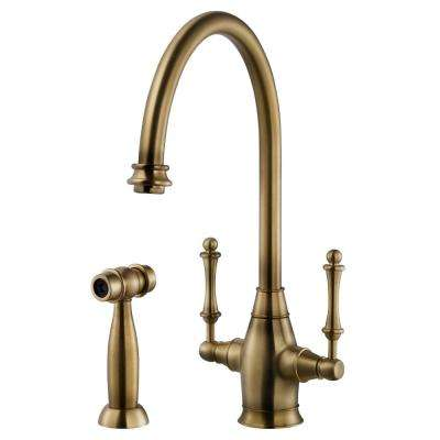 Charleston Traditional 2-Handle Standard Kitchen Faucet with Sidespray and CeraDox Technology in Antique Brass