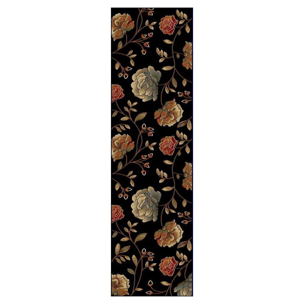chocolate coral and gold shower curtain. Kas Rugs Roses to Riches Black 2 ft  x 8 Runner Rug