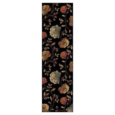 Roses to Riches Black 2 ft. x 8 ft. Runner Rug