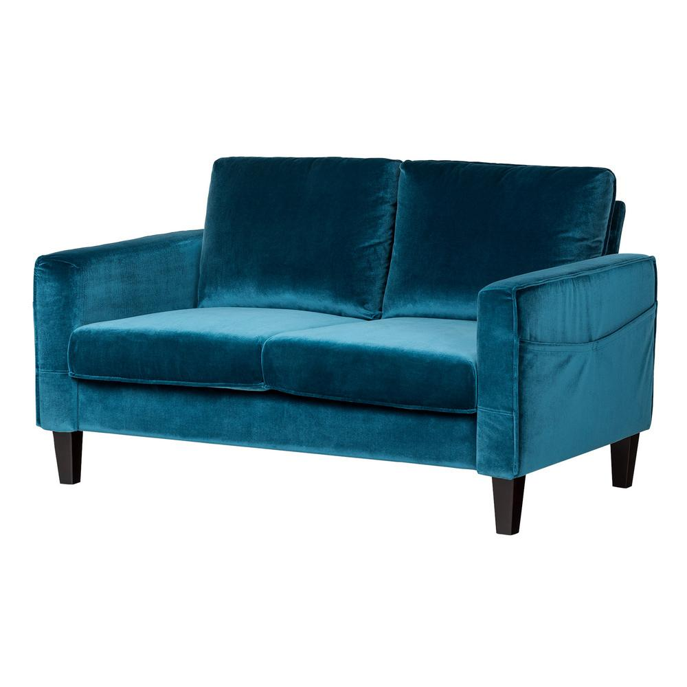 south shore live it cozy 2 seat velvet blue sofa 100306. Black Bedroom Furniture Sets. Home Design Ideas